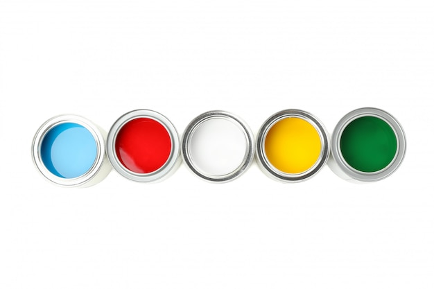 Cans of different paints isolated on white surface