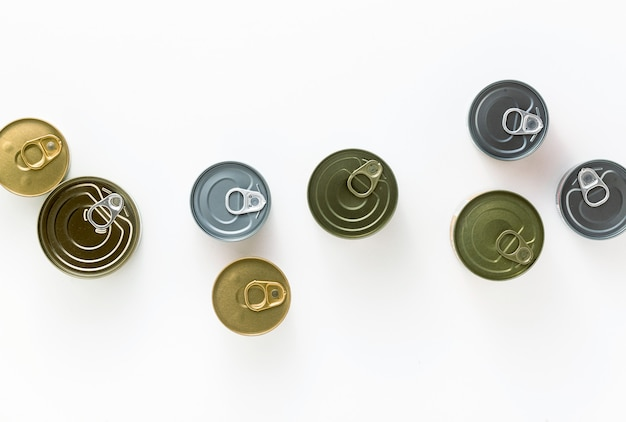 Cans on a white background. view from above. copy space