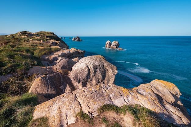 Cantabrian coastline landscape in costa quebrada, santander, spain.