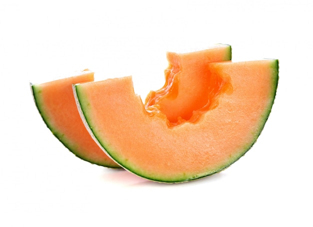 Cantaloupe melon in isolated white background