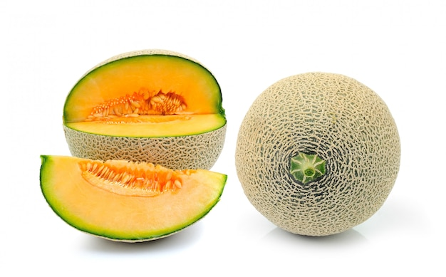 Cantaloupe melon isolated on white space