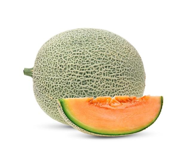 Cantaloupe melon isolated on white surface