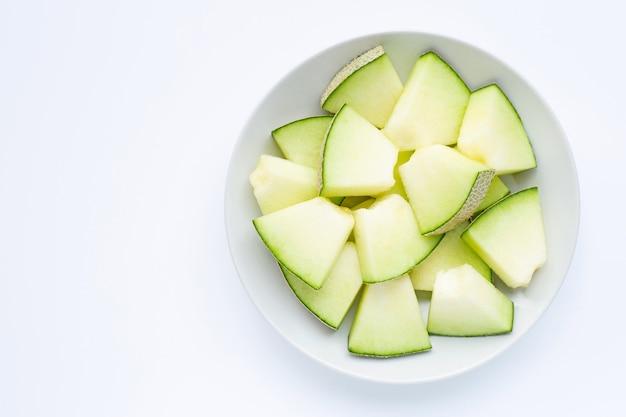Cantaloupe melon isolated on white.