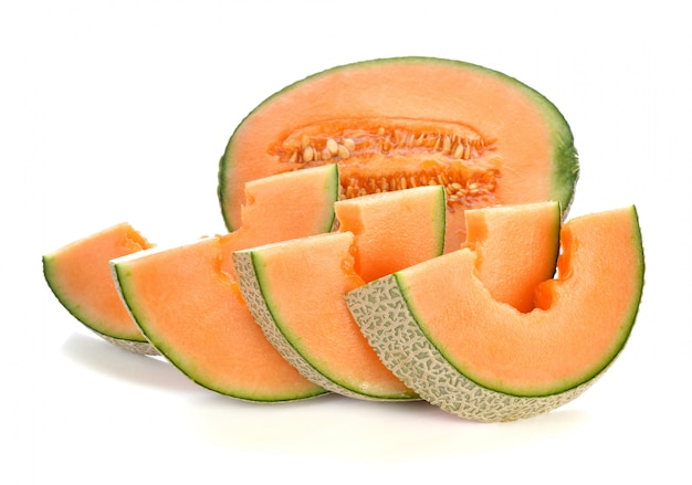 Cantaloupe melon isolated on white