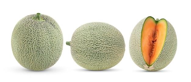 Cantaloupe melon isolated on whitesurface