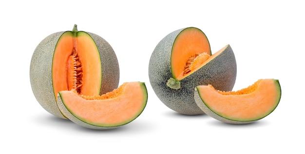 Cantaloupe melon slices isolated on white surface