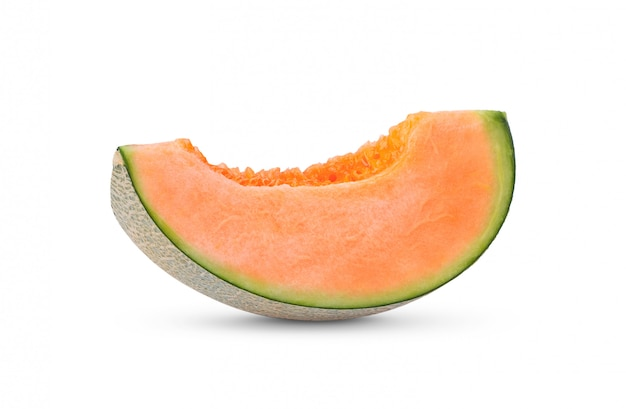 Cantaloupe melon slices on white