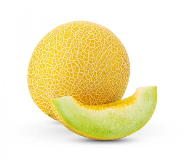 Cantaloupe melon on white wall.
