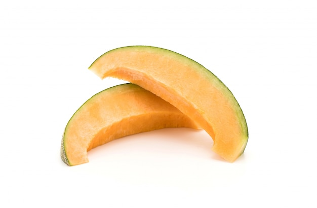 Cantaloupe melon on white