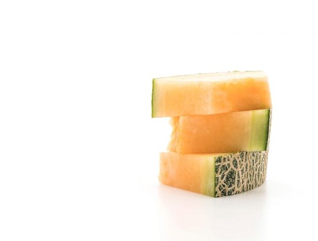 Cantaloupe melon on white