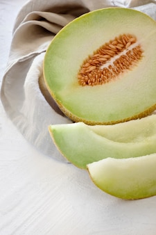 Cantaloupe melone on light textured