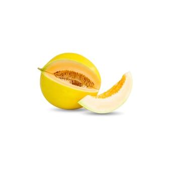 カンタロープメロンまたは白い背景で隔離の黄色いメロン