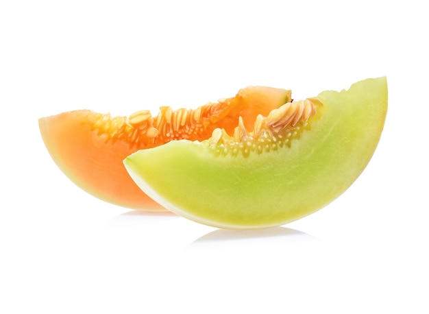 Cantaloupe on white background
