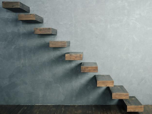 片持ち梁の暗い木製の階段