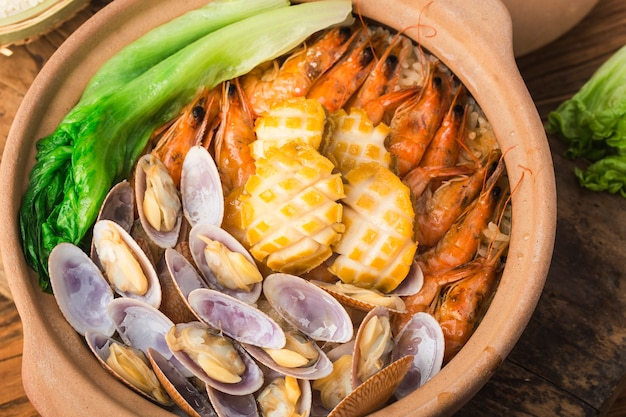 Cantonese style seafood rice pot