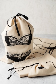 Canvas bag with drawstring, mockup of small eco sack made from natural cotton fabric cloth