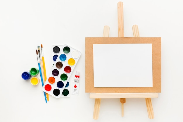 Canvas on easel creativity and art concept