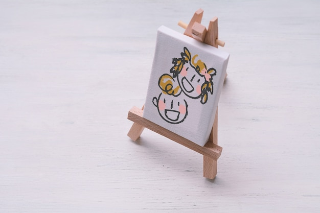 Canvas miniature with cute sketch