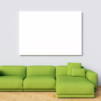 Canvas Mockup on White Interior Wall with Green Sofa