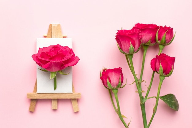 Canvas for painting with white flower on pink