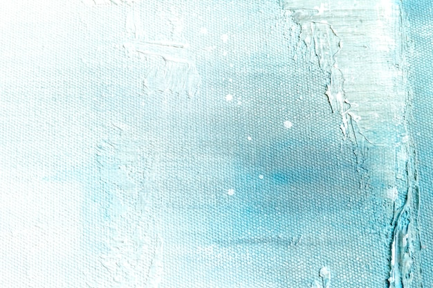 Canvas texture background with abstract blue colorful art painting.