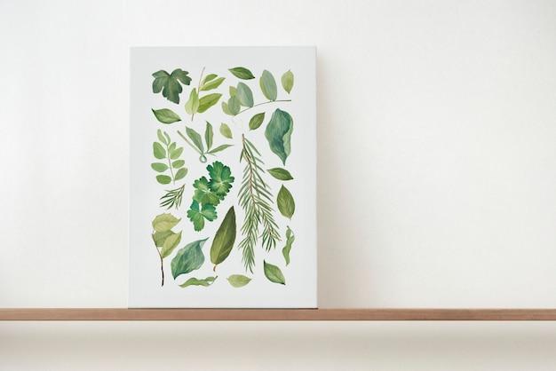 나무 선반에 캔버스 벽 예술