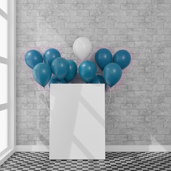 Canvas with some balloons in a daylight room