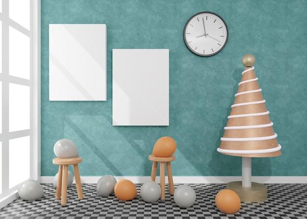 Холст с воздушными шарами в дневной комнате с елкой