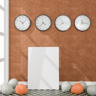 Canvas with some balloons and wall clocks in a daylight room