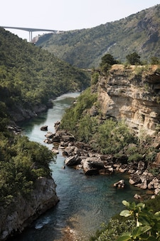 モラカ川モンテネグロの峡谷。上面図
