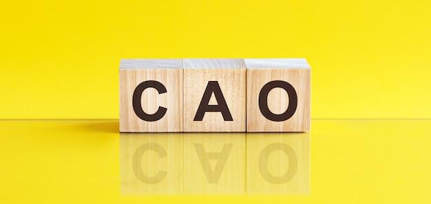 Cao word written on wood block