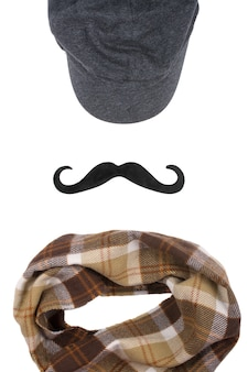 Cap, black moustache and checkered scarf