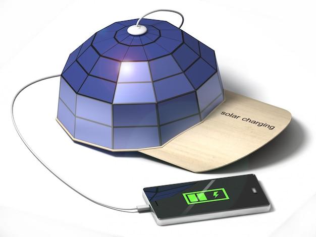 Cap with solar panels