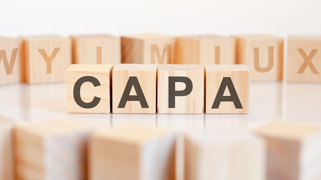 Capa word made with building blocks, concept.