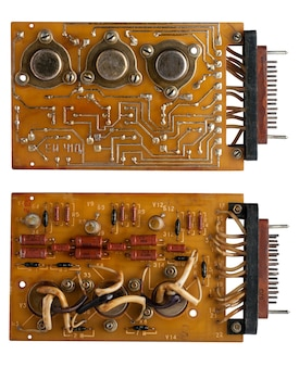 Capacitors and chips old microcircuit board
