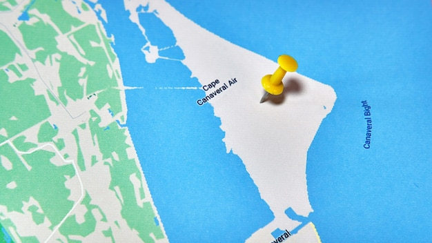 Cape canaveral, florida, usa on a map showing a colored pin
