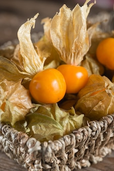 Cape gooseberry in the basket.