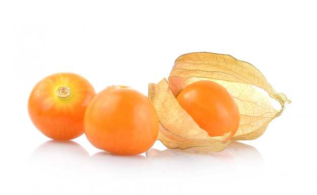 Cape gooseberry (physalis) isolated on white