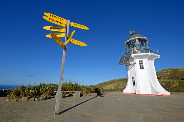 Cape reinga lighthouse and signpost