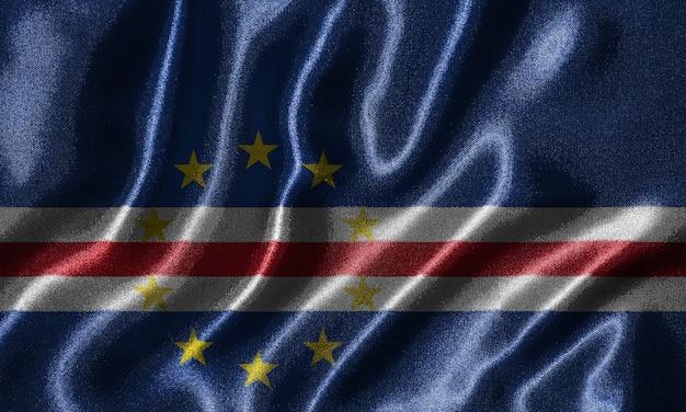 Cape verde flag - fabric flag of cape verde country, background of waving flag