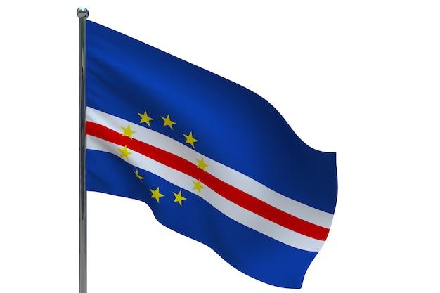 Флаг кабо-верде на шесте. металлический флагшток. национальный флаг кабо-верде 3d иллюстрация на белом