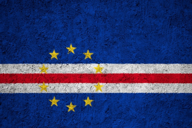 Cape verde flag painted on grunge wall
