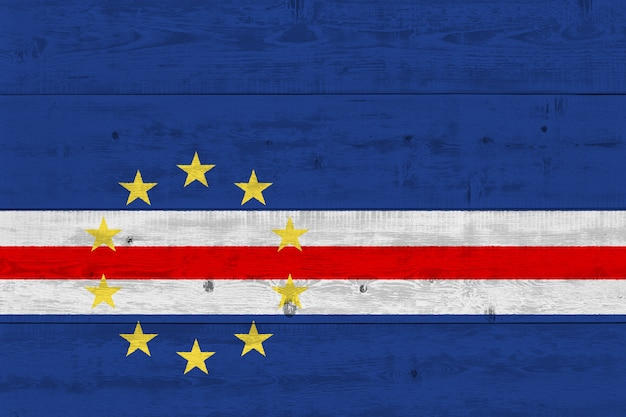 Cape verde flag painted on old wood plank