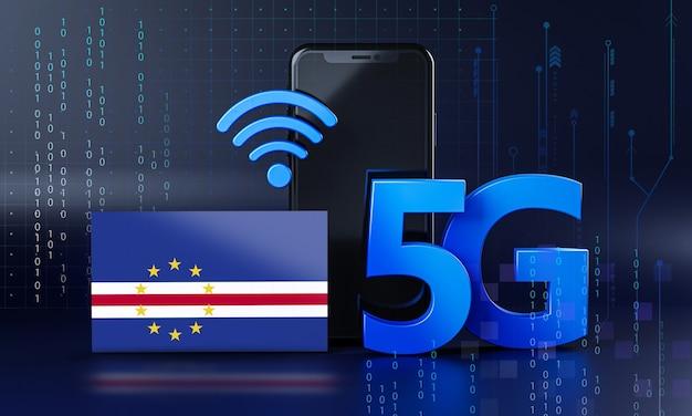 Кабо-верде готов к концепции подключения 5g. 3d визуализация смартфон технологии фона