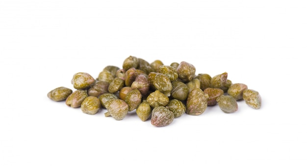 Capers isolated on white space. pickled capers. canned capers