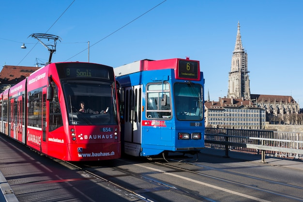 Capital city of bern with tramway on march 6, 2015.