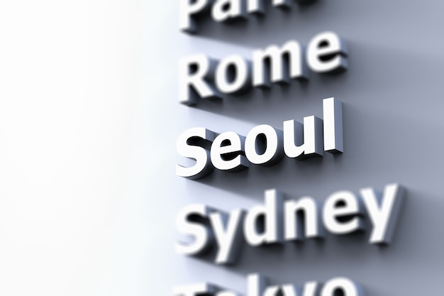 Capital city focus on seoul with grey background