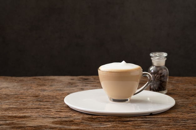 Cappuccino coffee clear cup for cafe coffee shop