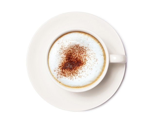 Cappuccino coffee, coffee cup top view isolated on white background. with clipping path.