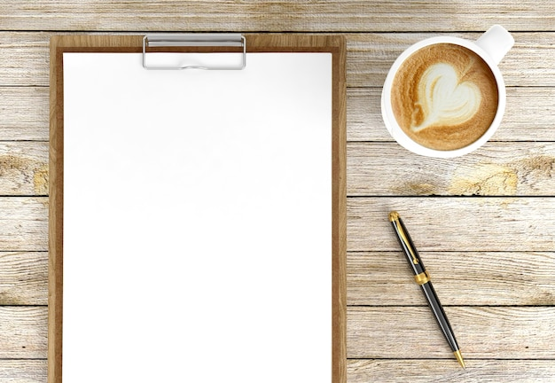 Cappuccino coffee cup with blank papers